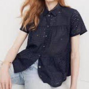 MADEWELL Eyelet Seamed Button-Down Shirt sz XL